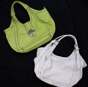 Two ✌️ Hobo Hand Bags Large Green White